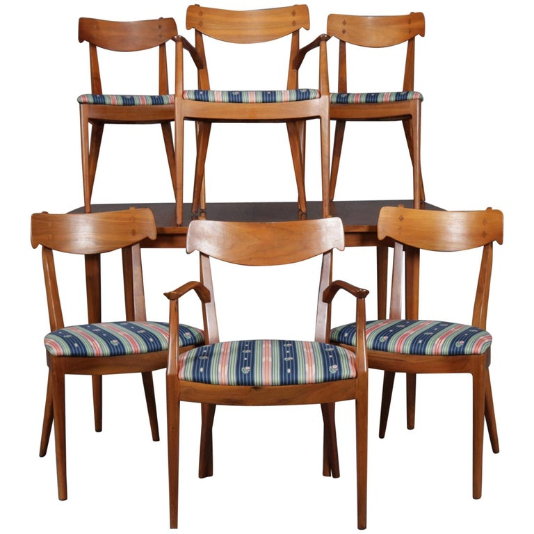 Midcentury Danish Modern Declarations Walnut Dining Room Set By Drexel For Sale