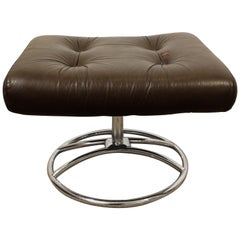 Midcentury Danish Modern Ekornes Stressless Chrome Leather Swivel Ottoman