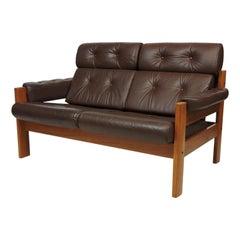 "Midcentury Danish Modern Ekornes Teak and Leather ""Amigo"" Two-Seat Sofa Loveseat"