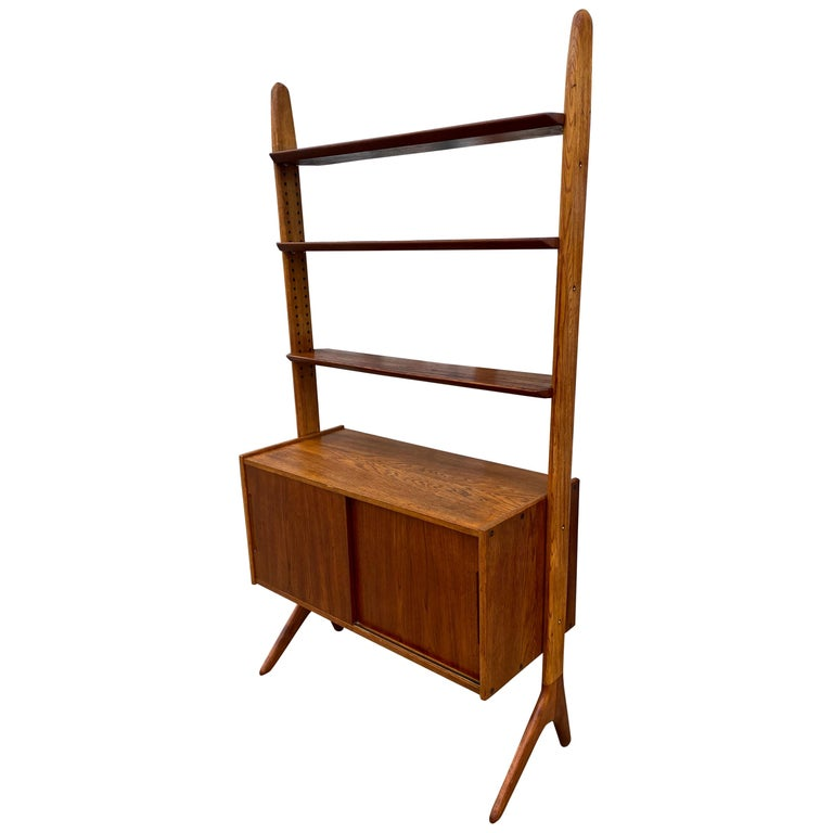 Midcentury Danish Modern Freestanding Teak Wall unit Jutex by Hovmand Olsenc For Sale