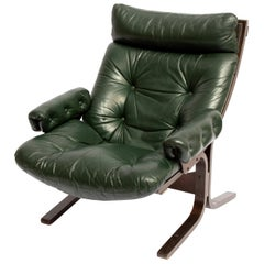 Midcentury Danish Modern Green Leather Slipper Lounge Chair