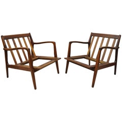 Midcentury Danish Modern Kofod Larsen Style Walnut Lounge Chairs, a Pair