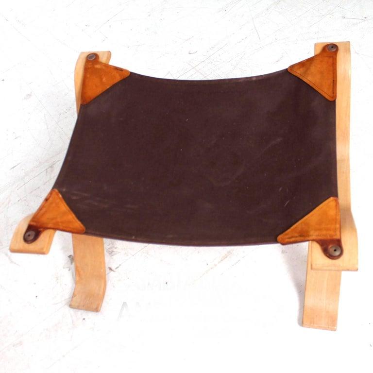 Swedish Midcentury Danish Modern Leather Ottoman, 1960s For Sale