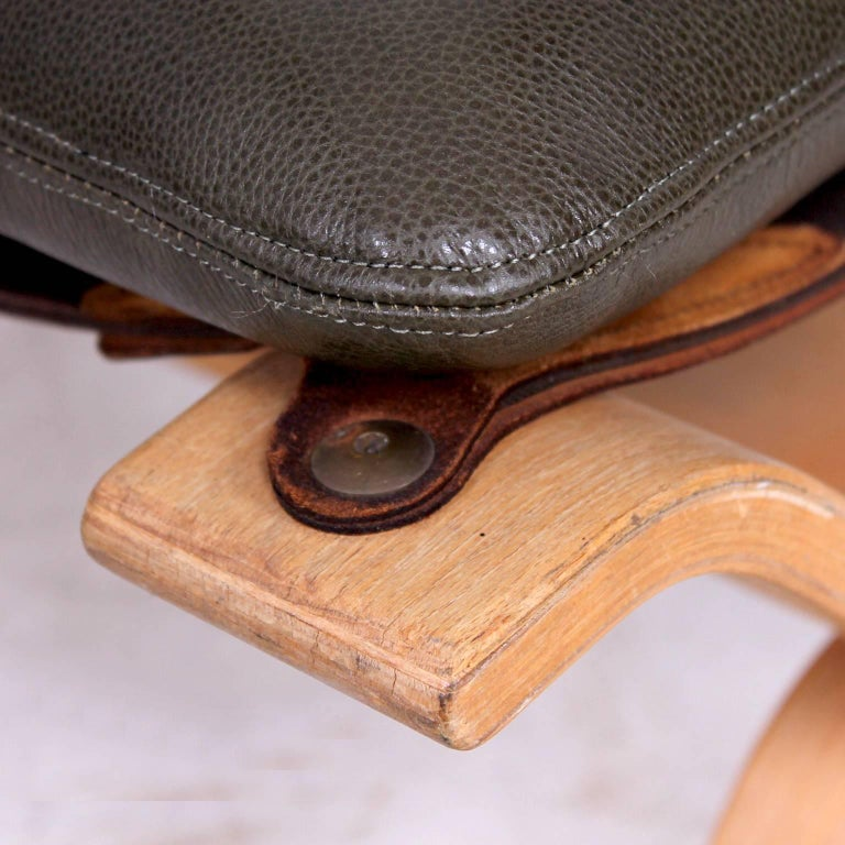 20th Century Midcentury Danish Modern Leather Ottoman, 1960s For Sale