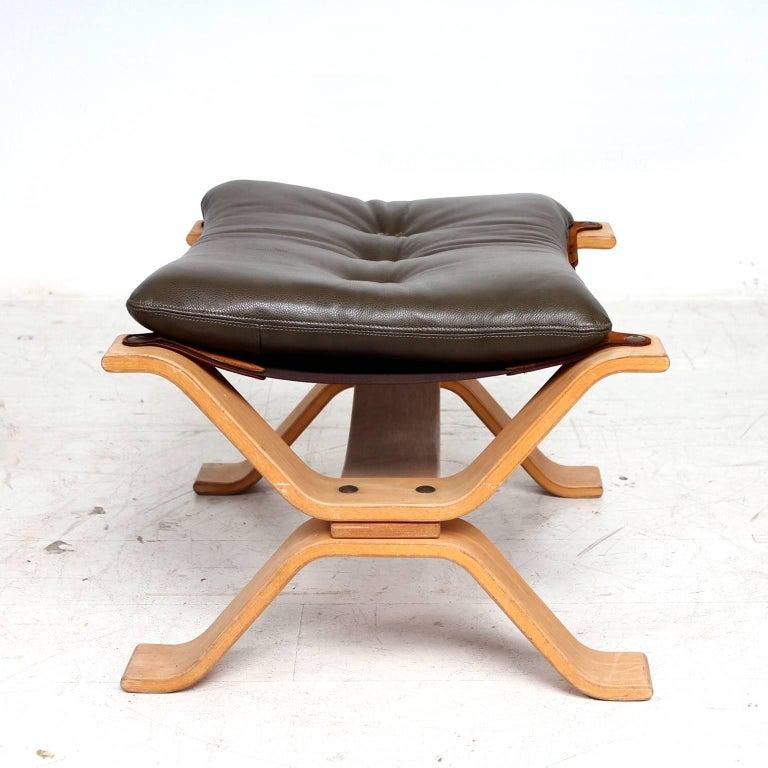 Midcentury Danish Modern Leather Ottoman, 1960s For Sale 2