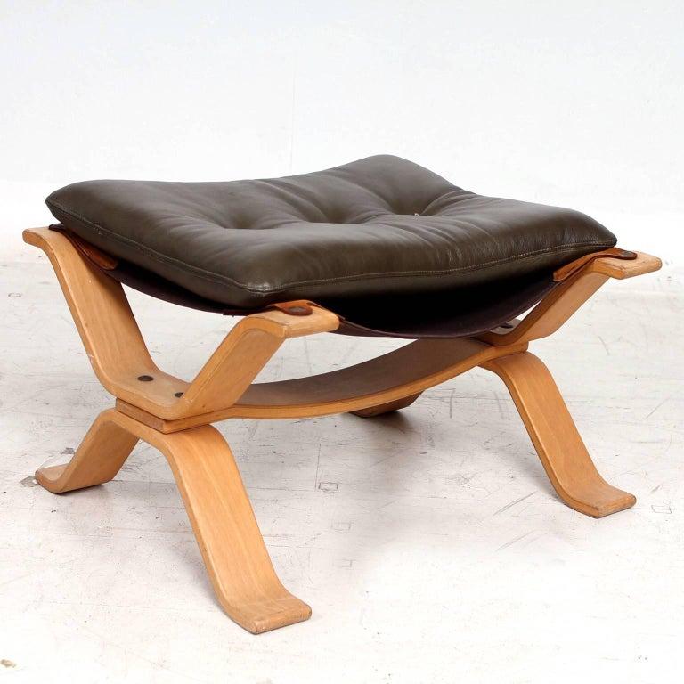 Midcentury Danish Modern Leather Ottoman, 1960s For Sale 3