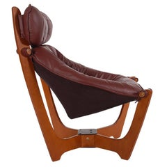 Midcentury Danish Modern Leather Sling Lounge Chair in Teak by Odd Knutson