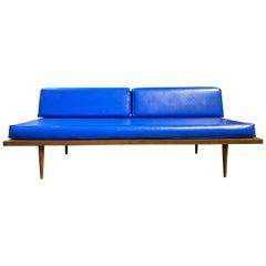 Midcentury Danish Modern Low Minimalist Daybed Bright Blue Vinyl Upholstery