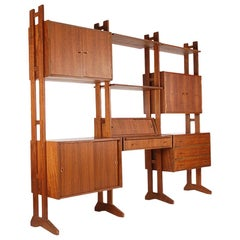 Midcentury Danish Modern Modular Wall Unit or Shelving Unit and Desk in Teak