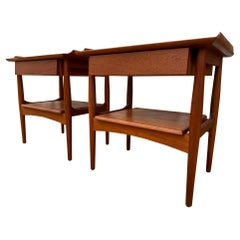 Midcentury Danish Modern Nightstands Teak Single Drawer