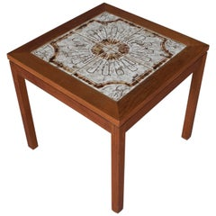Midcentury Danish Modern Nils Thorsson School Walnut Tile Top Table, circa 1960