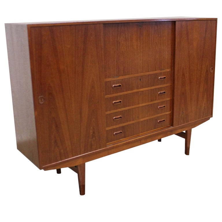 Midcentury Danish Modern Omann Jun Teak Secretary Credenza Highboard For Sale