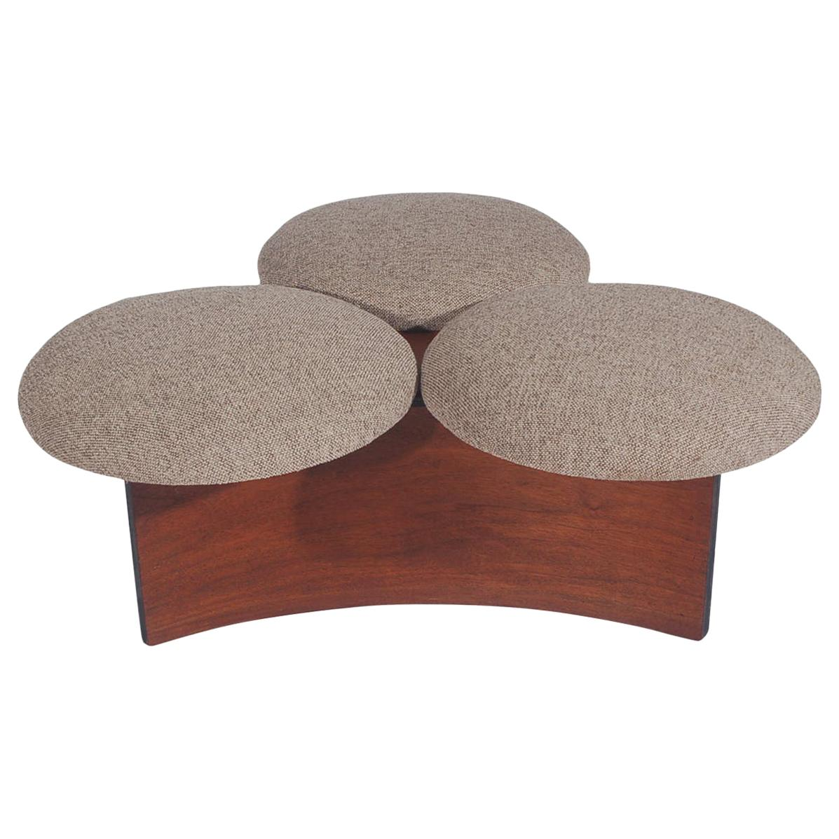 Midcentury Danish Modern Ottoman or Table in Walnut with 3 Circular Cushions