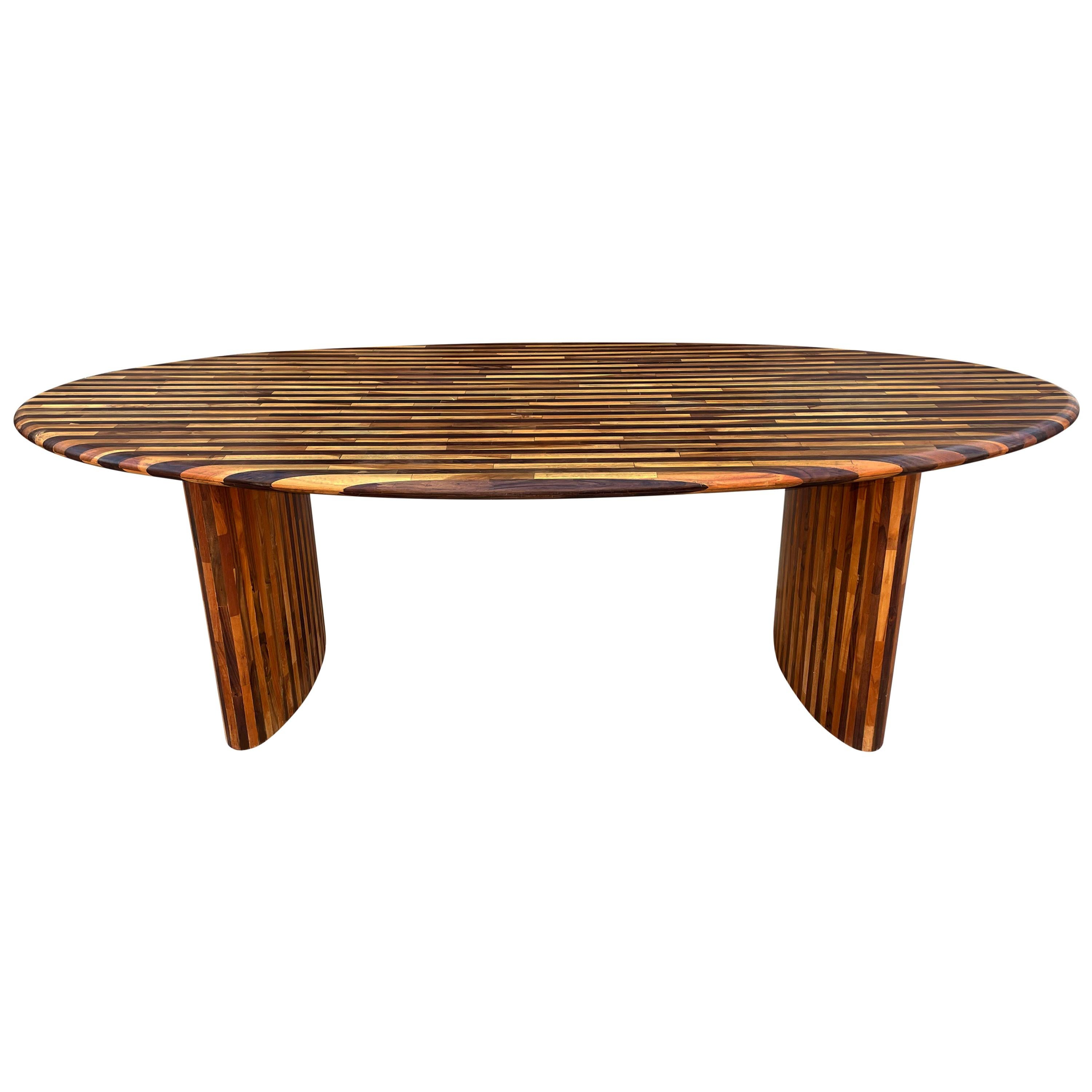 Midcentury Danish Modern Oval Surfboard Dining Table in Rosewood and Teak