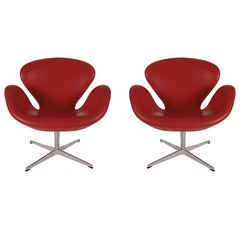 Midcentury Danish Modern Pair of Red Leather Swivel Swan Chairs / Arne Jacobsen