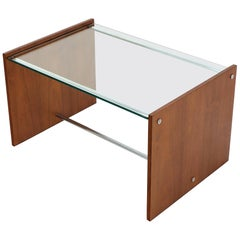 Midcentury Danish Modern Rosewood Chrome Glass Top Coffee Side Table