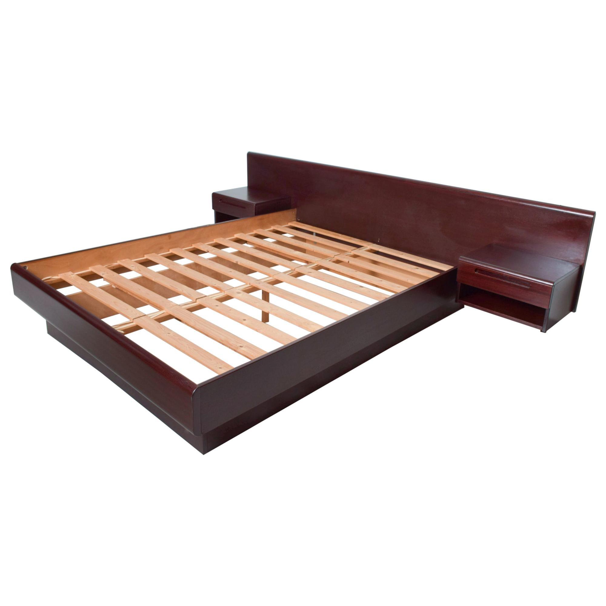 Sleek Scandinavian Modern Rosewood Platform Queen Bed with Floating Nightstands