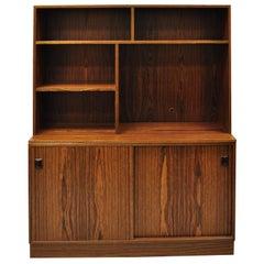 Midcentury Danish Modern Rosewood Sliding Door Credenza Cabinet Bookcase Hutch