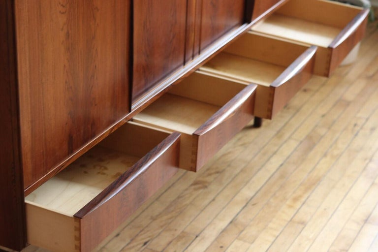 Midcentury Danish Modern Rosewood Tall Sideboard by E.W. Bach For Sale 5