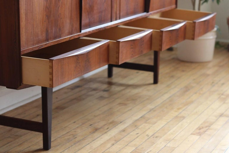 Midcentury Danish Modern Rosewood Tall Sideboard by E.W. Bach For Sale 6