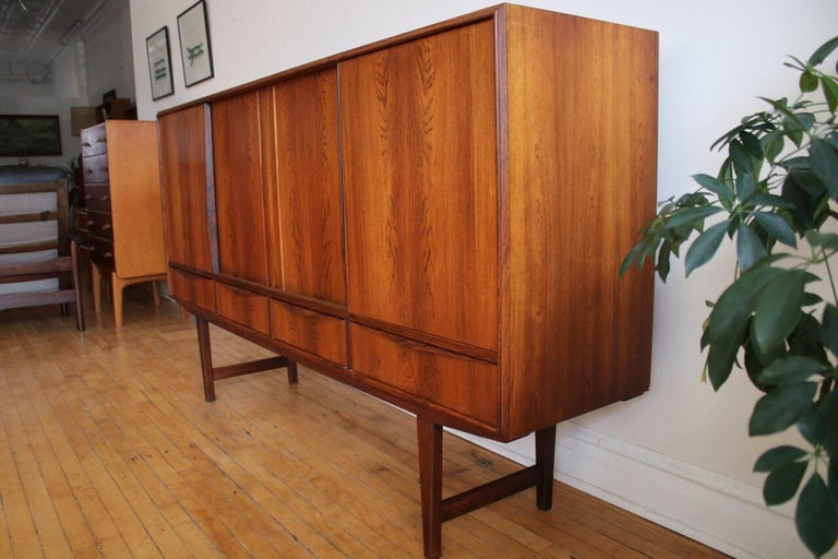 Midcentury Danish Modern Rosewood Tall Sideboard by E.W. Bach For Sale 7