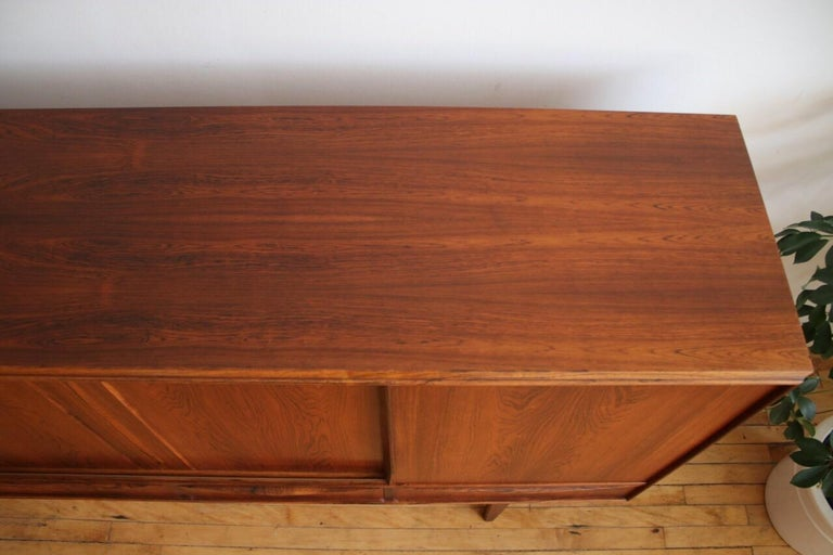 Midcentury Danish Modern Rosewood Tall Sideboard by E.W. Bach For Sale 9
