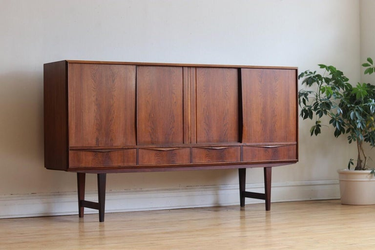 Midcentury Danish Modern Rosewood Tall Sideboard by E.W. Bach For Sale 10