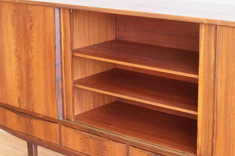 Midcentury Danish Modern Rosewood Tall Sideboard by E.W. Bach In Excellent Condition For Sale In Brooklyn, NY