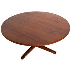 Midcentury Danish Modern Round Coffee Table Solid Teak Wood, Rare