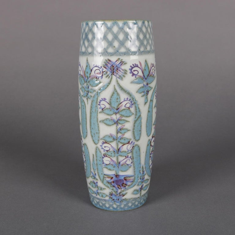 Arts and Crafts Midcentury Danish Modern Royal Copenhagen Faience Stylized Floral Vase For Sale