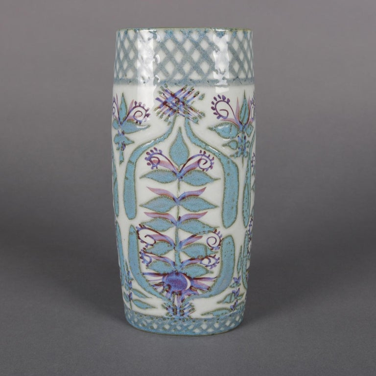 Hand-Painted Midcentury Danish Modern Royal Copenhagen Faience Stylized Floral Vase For Sale