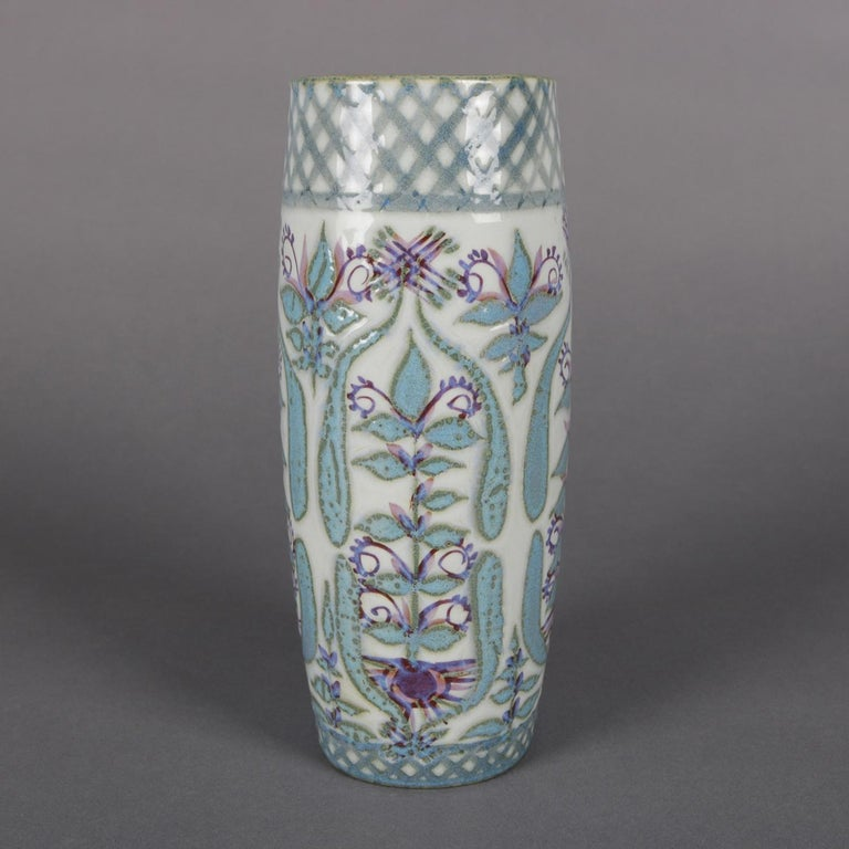 Midcentury Danish Modern Royal Copenhagen Faience Stylized Floral Vase In Good Condition For Sale In Big Flats, NY