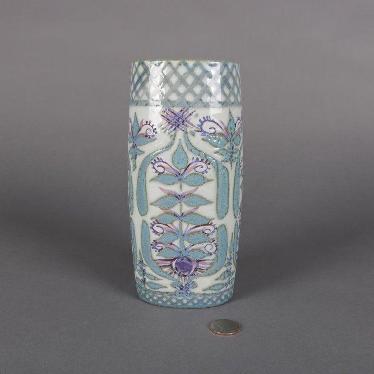 20th Century Midcentury Danish Modern Royal Copenhagen Faience Stylized Floral Vase For Sale