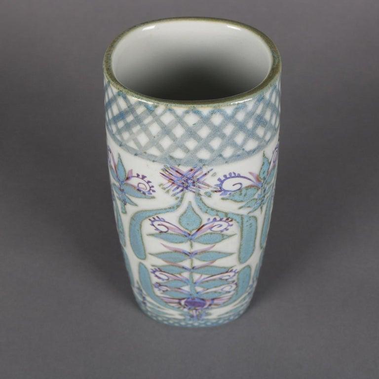 Midcentury Danish Modern Royal Copenhagen Faience Stylized Floral Vase For Sale 1