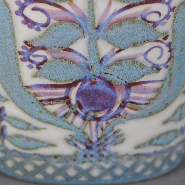 Midcentury Danish Modern Royal Copenhagen Faience Stylized Floral Vase For Sale 2