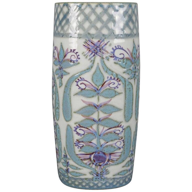 Midcentury Danish Modern Royal Copenhagen Faience Stylized Floral Vase For Sale