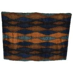 Midcentury Danish Modern Rya Rug with Beautiful Blue Tone Graphics