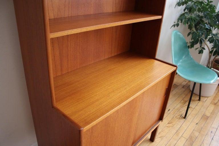 Midcentury Danish Modern Slim Teak Hutch For Sale 5