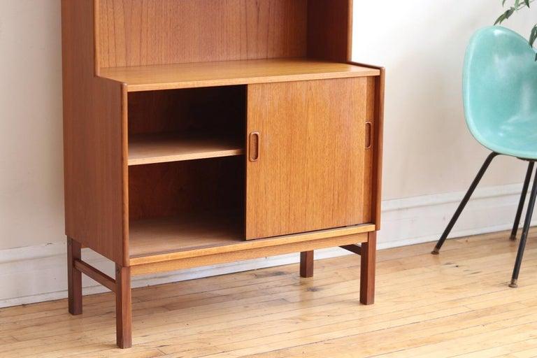 Midcentury Danish Modern Slim Teak Hutch For Sale 6