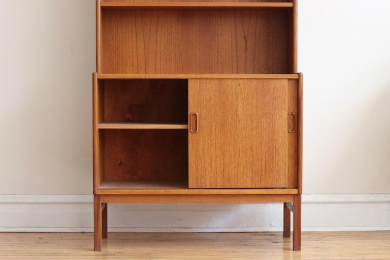Midcentury Danish Modern Slim Teak Hutch For Sale 7