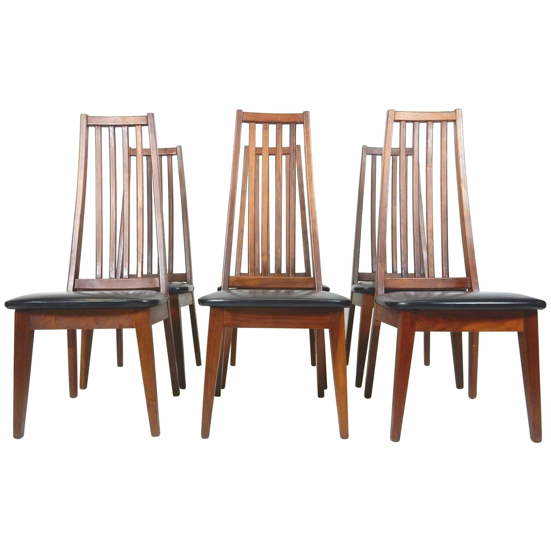 Midcentury Danish Modern Tall Teak Wood Spindle Back Dining Chairs For Sale
