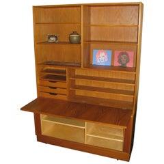 Midcentury Danish Modern Teak Bookcase Desk Credenza with Tambour Doors