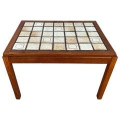 Midcentury Danish Modern Teak Ceramic Tile Coffee Table Bench