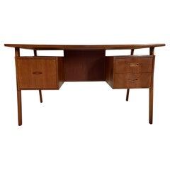 Midcentury Danish Modern Teak Desk 3 Drawers Top Lockable Center Cabinet
