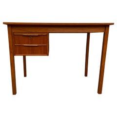 Midcentury Danish Modern Teak Small Desk 2 Drawers Top Lockable Drawer