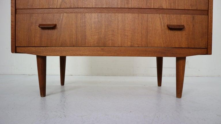 Midcentury Danish Modern Teak Wood Secretary Desk, Chest of Drawers, 1960s For Sale 5