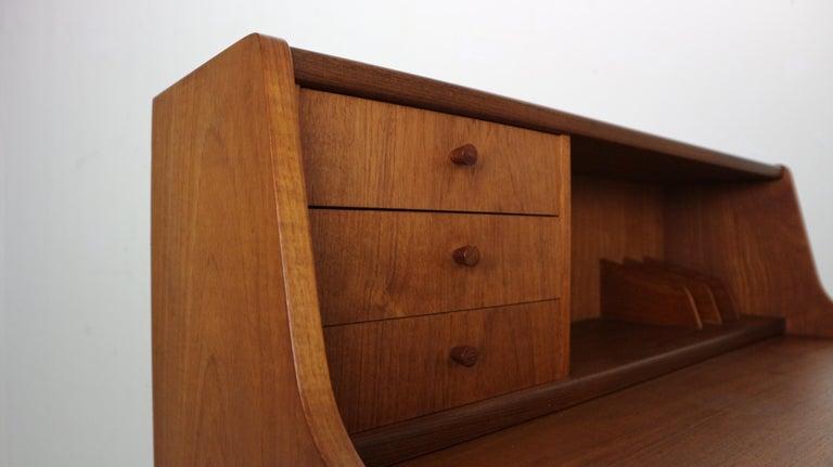 Midcentury Danish Modern Teak Wood Secretary Desk, Chest of Drawers, 1960s For Sale 7