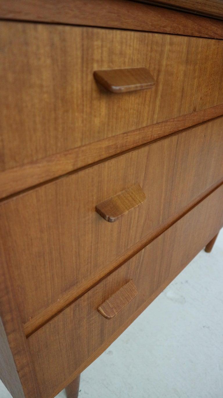 Midcentury Danish Modern Teak Wood Secretary Desk, Chest of Drawers, 1960s For Sale 9