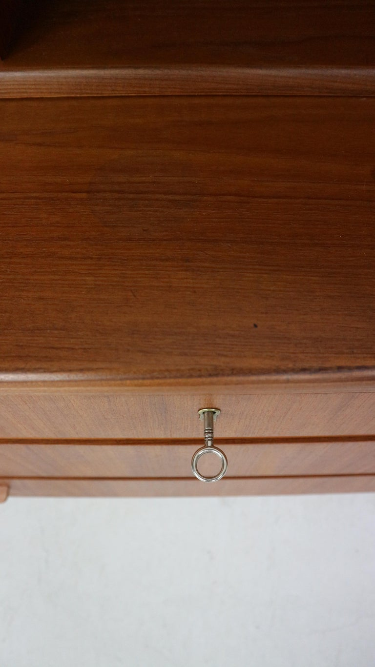 Midcentury Danish Modern Teak Wood Secretary Desk, Chest of Drawers, 1960s For Sale 10