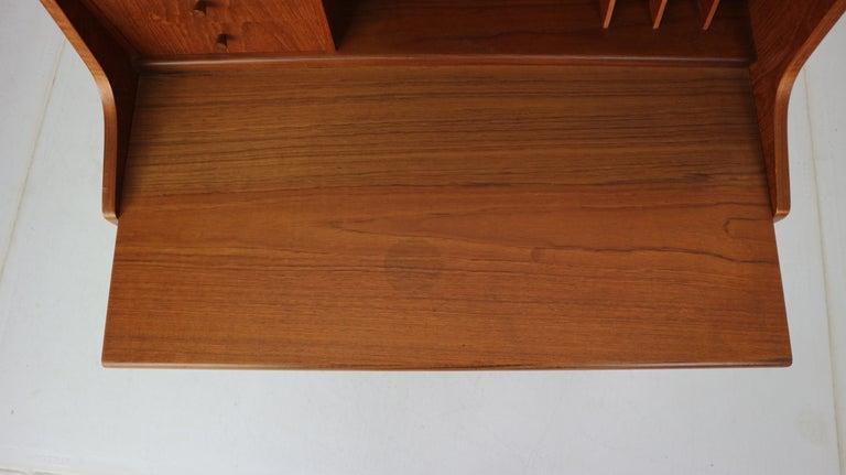 Midcentury Danish Modern Teak Wood Secretary Desk, Chest of Drawers, 1960s For Sale 15